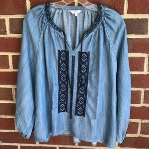 Crown & Ivy chambray blouse pretty details S